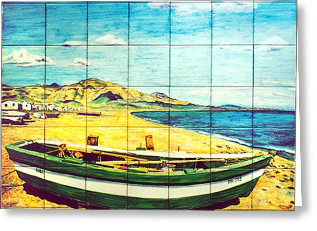 Landscape Ceramics Greeting Cards - Boat on Fuengirola beach Greeting Card by Jose Angulo