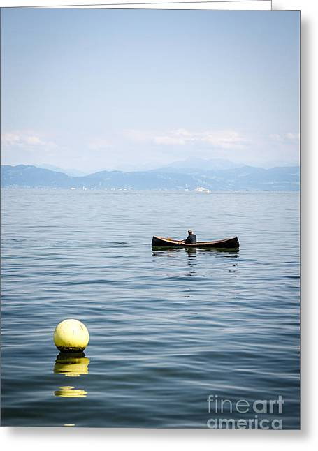 Swiss Photographs Greeting Cards - Boat on Lake Constance Greeting Card by Ning Mosberger-Tang