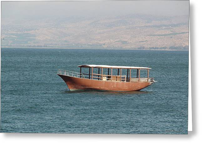 Gospel Of Matthew Greeting Cards - Boat on Sea of Galilee Greeting Card by Brian Tada