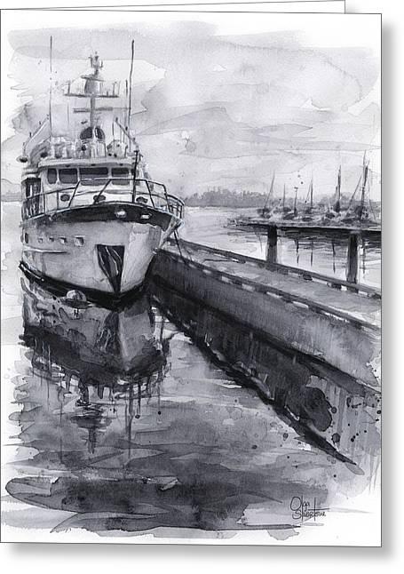 Boat On Waterfront Marina Kirkland Washington Greeting Card by Olga Shvartsur