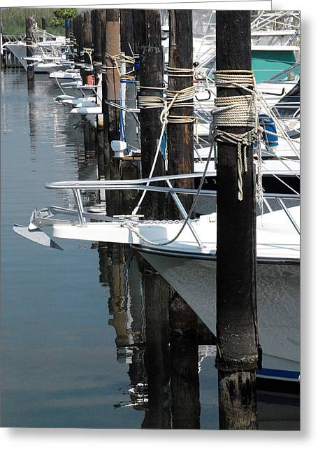 Boats At Dock Greeting Cards - Boat Pier Greeting Card by Joyce StJames
