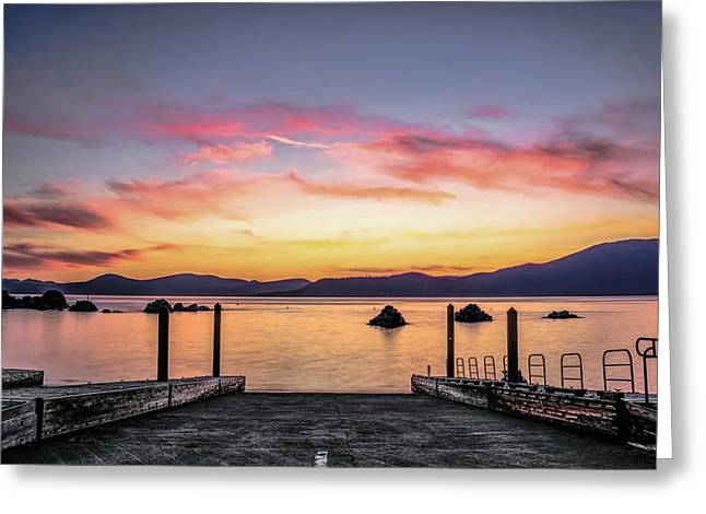 Reflecting Water Greeting Cards - Boat Ramp Greeting Card by Maria Coulson
