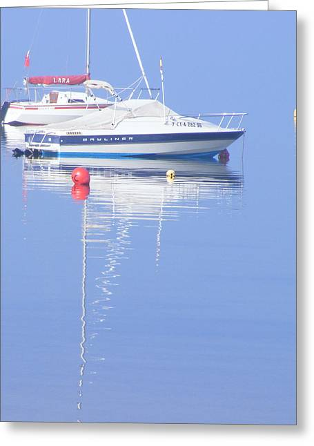 Boats On Water Drawings Greeting Cards - Boat Reflections Greeting Card by Jacqueline Essex