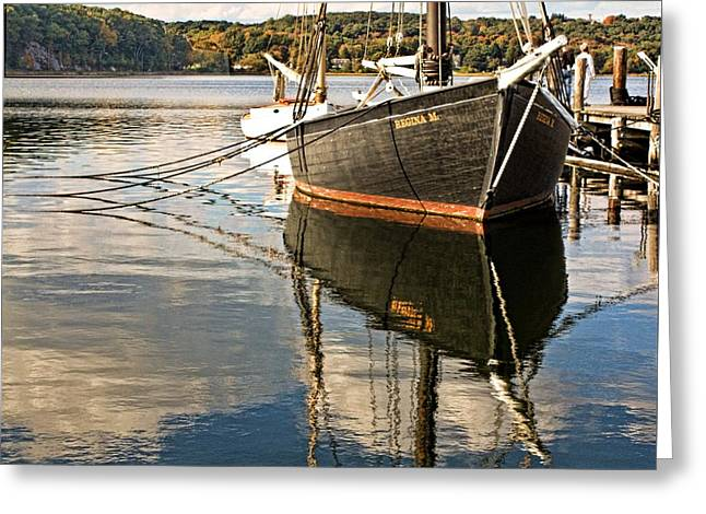 Boats At Dock Greeting Cards - New England Boat Reflections Greeting Card by Jake Steele