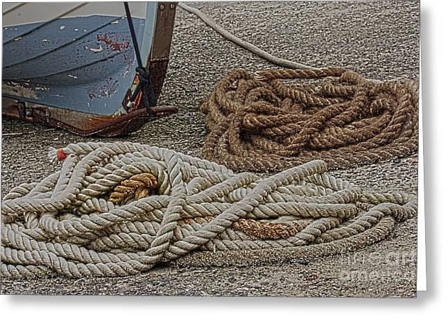 Wooden Ship Greeting Cards - Boat Ropes Greeting Card by Terri  Waters