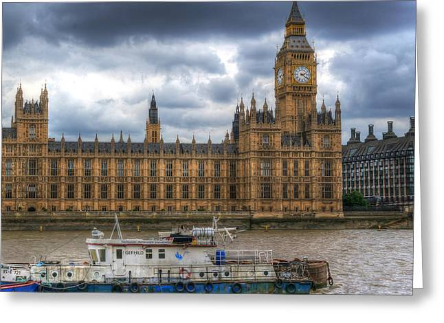 Famous Bridge Greeting Cards - Boat Sailing past Big Ben Greeting Card by John Williams
