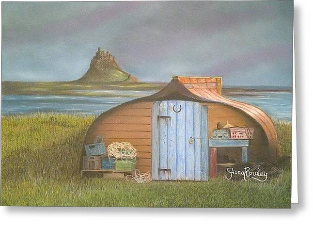 Sheds Pastels Greeting Cards - Boat shed at Lindisfarne Greeting Card by Fiona Rowley