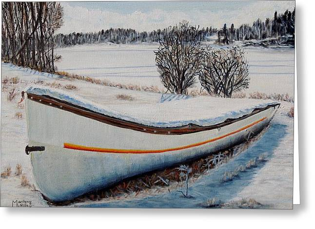 Boat Under Snow Greeting Card by Marilyn  McNish