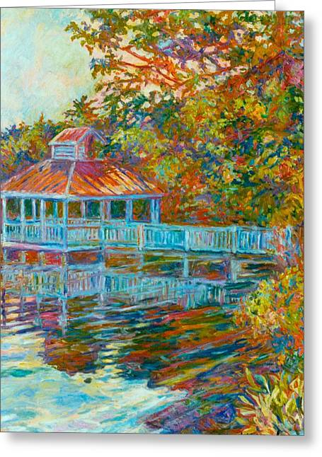 Kendall Kessler Greeting Cards - Boathouse at Mountain Lake Greeting Card by Kendall Kessler