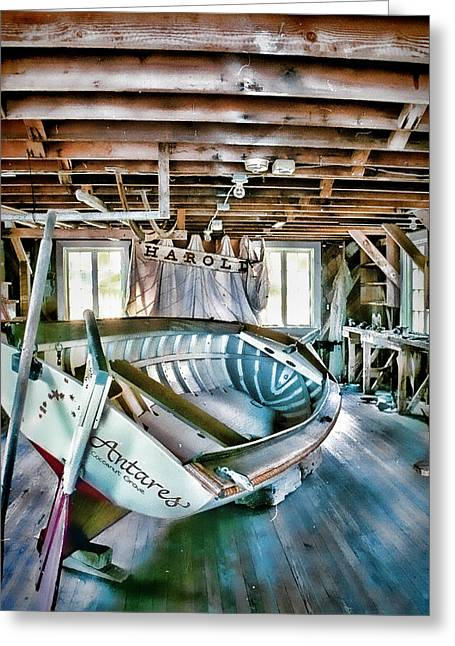 Wooden Ship Greeting Cards - Boathouse Greeting Card by Heather Applegate
