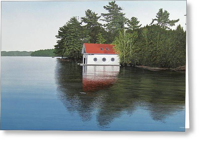 Boathouse Greeting Card by Kenneth M  Kirsch