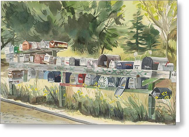Sausalito Paintings Greeting Cards - Boathouse Mailboxes Greeting Card by Kate Peper