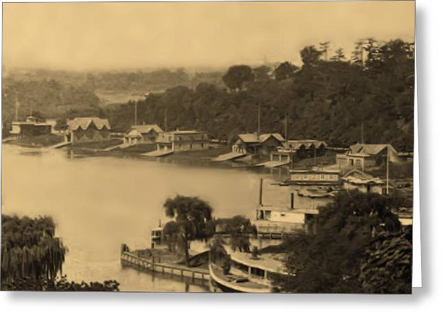 Boathouse Row 1874 In Sepia Greeting Card by Digital Reproductions