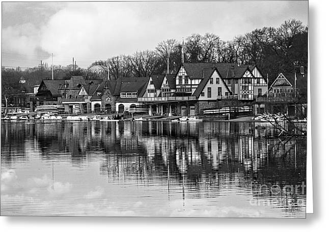 Kelly Photographs Greeting Cards - Boathouse Row in Black and White Greeting Card by Tom Gari Gallery-Three-Photography