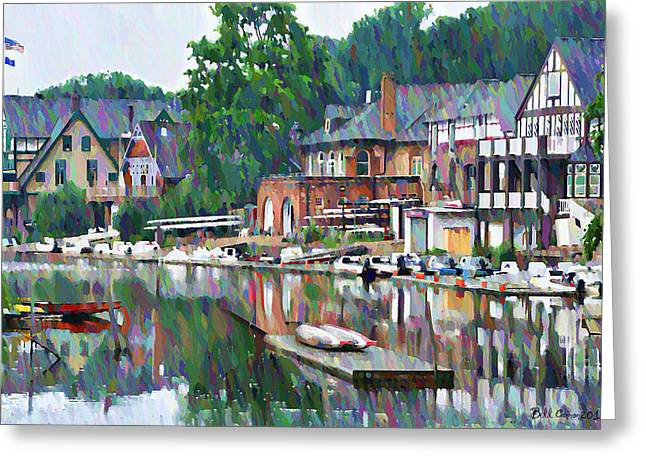 Vintage Boat Greeting Cards - Boathouse Row in Philadelphia Greeting Card by Bill Cannon