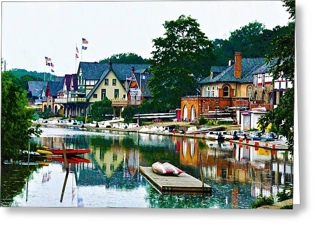 Boathouse Row In Philly Greeting Card by Bill Cannon