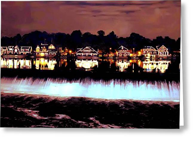 Boathouse Row In The Night Greeting Card by Bill Cannon