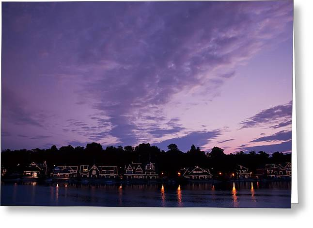 Boathouse Row Greeting Cards - Boathouse Row in Twilight Greeting Card by Bill Cannon