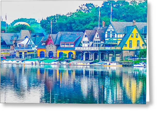 Greeting Cards - Boathouse Row on the Schuylkill River in Philadelphia Greeting Card by Bill Cannon