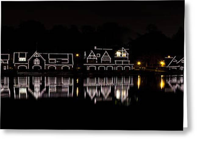 Nighttime Greeting Cards - Boathouse Row panorama - Philadelphia Greeting Card by Brendan Reals