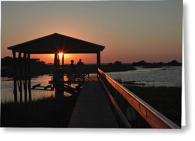 Boathouse Sunset Greeting Card by Stacey Lynn Payne