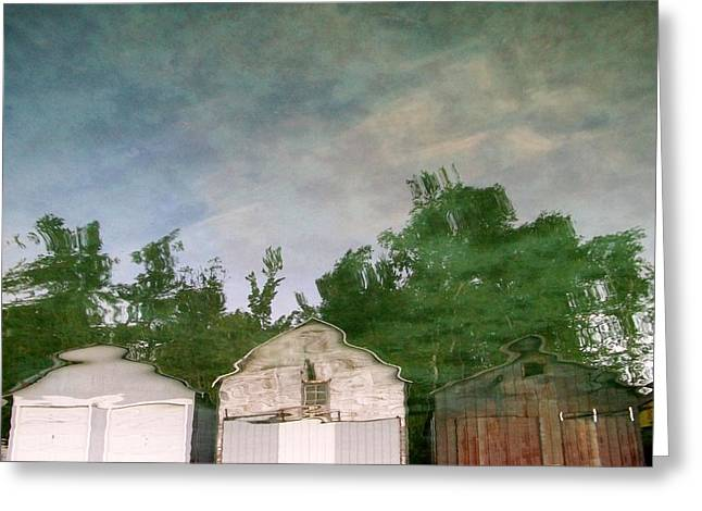 Boat Shed Greeting Cards - Boathouses with Sky and Trees Greeting Card by Michelle Calkins