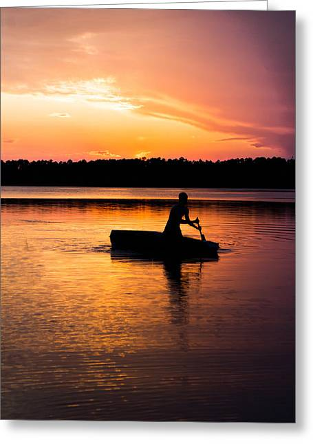 Reflecting Water Greeting Cards - Boating in the Sunset Greeting Card by Shelby  Young