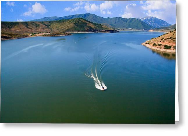 Fishing Creek Greeting Cards - Boating on Deer Creek Reservoir Greeting Card by Utah Images