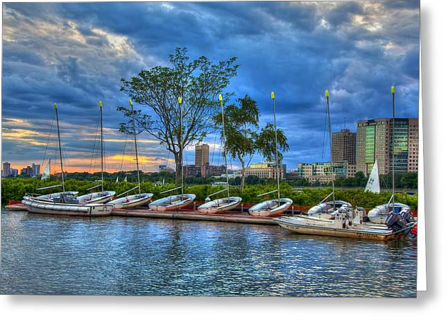 Charles River Greeting Cards - Boating on the Charles River - Boston Greeting Card by Joann Vitali