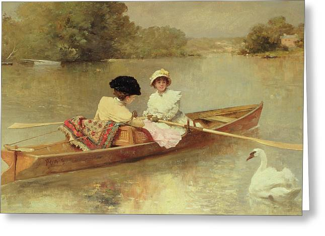 Boating On The Seine Greeting Card by Ferdinand Heilbuth