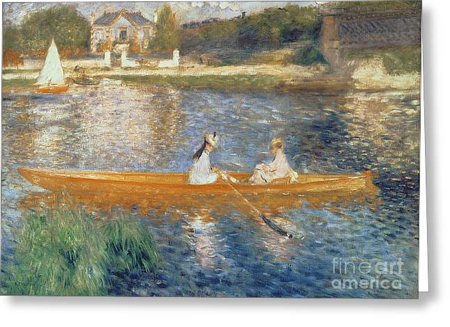Buildings Paintings Greeting Cards - Boating on the Seine Greeting Card by Pierre Auguste Renoir