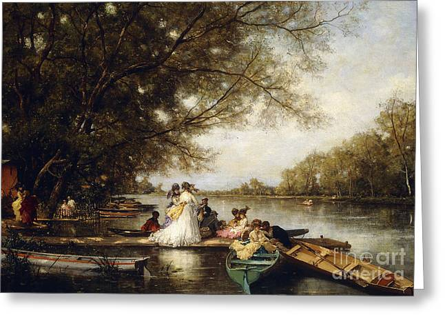 Boating Party On The Thames Greeting Card by Ferdinand Heilbuth