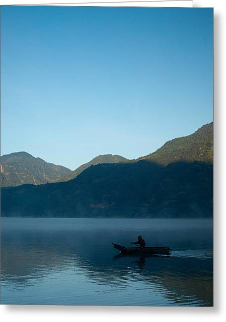 Boatman Greeting Cards - Boatman Lake Atitlan Guatemala Greeting Card by Douglas Barnett