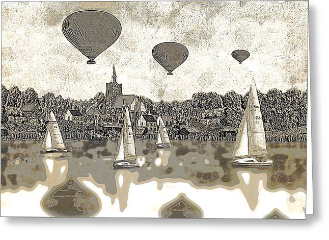 Balloons Flying Over The Lake  Greeting Card by Fine Art By Andrew David