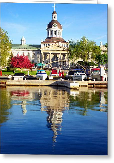 Kingston City Hall Greeting Cards - Boats and City Hall Reflections Greeting Card by Paul Wash