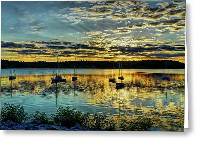 Boats And Sunset Reflections Greeting Card by Lilia D