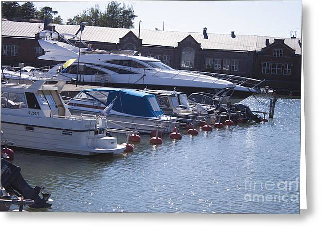 Blue Sailboats Greeting Cards - Boats at a harbour Greeting Card by Daniel Ronneberg