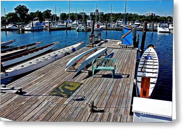 Boats At Dock Greeting Cards - Boats at an Empty Dock 1 Greeting Card by Nishanth Gopinathan