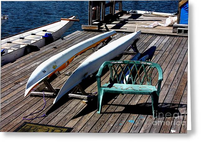 Boats At Dock Greeting Cards - Boats at an Empty Dock 2 Greeting Card by Nishanth Gopinathan