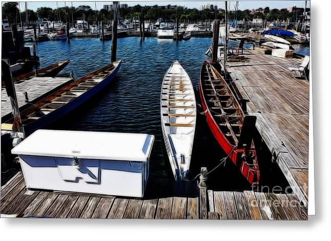 Boats At Dock Greeting Cards - Boats at an Empty Dock 3 Greeting Card by Nishanth Gopinathan