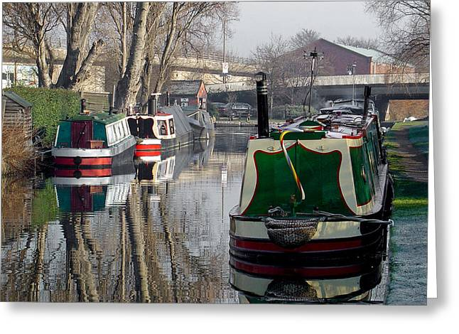 Waterway Greeting Cards - Boats at Horninglow Basin Greeting Card by Rod Johnson