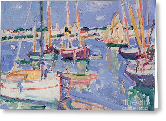 Boats At Royan Greeting Card by Samuel John Peploe