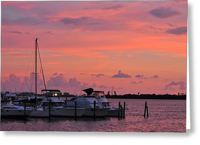 Boats At Sunset Greeting Card by Rose  Hill