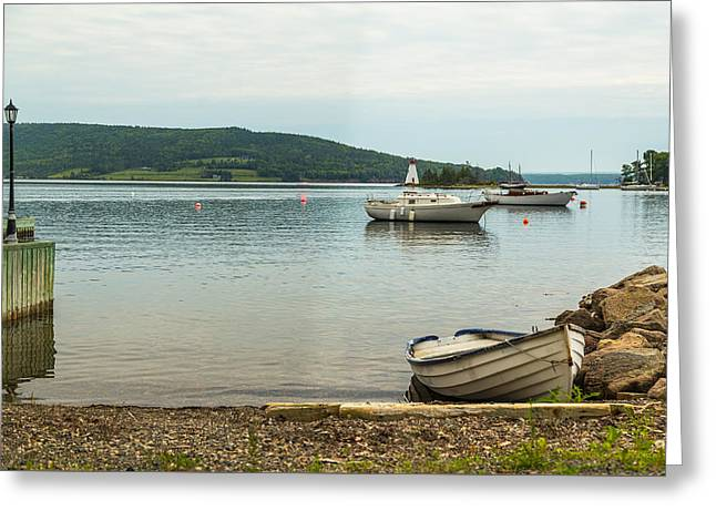 Overcast Day Greeting Cards - Boats at the Baddeck Waterfront Greeting Card by Mike Clegg