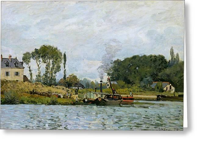 Bougival Greeting Cards - Boats at the lock at Bougival Greeting Card by Alfred Sisley