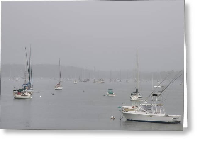 Boats Docked In A Foggy Harbor - Salem, Massachusetts Greeting Card by Joann Vitali