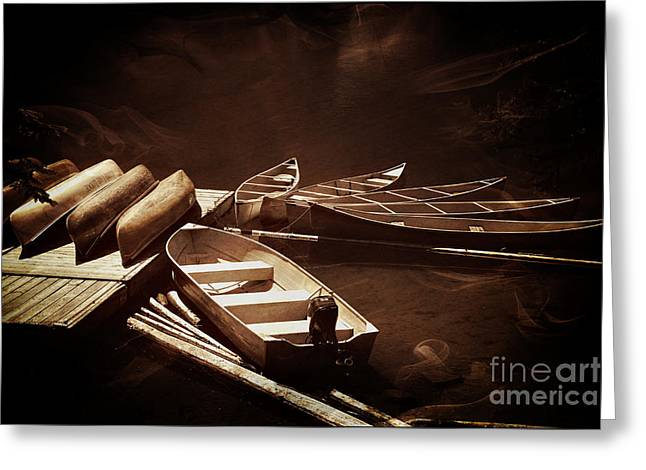 Canoe Greeting Cards - Boats For Rent Greeting Card by Vickie Emms