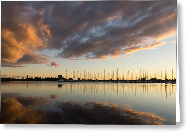Gloaming Greeting Cards - Boats and Clouds Summer Sunset Greeting Card by Georgia Mizuleva