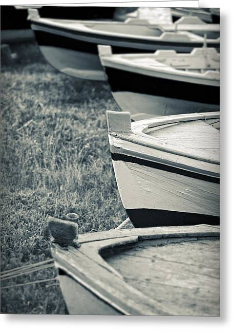 Split Toning Greeting Cards - Boats in a row Greeting Card by Silvia Ganora