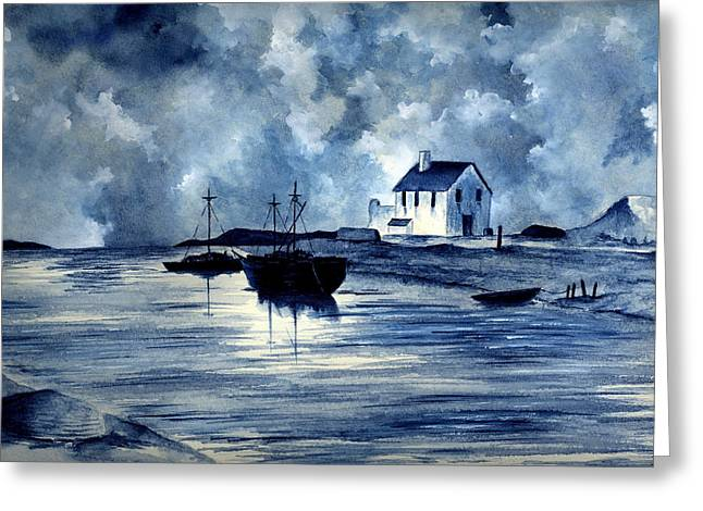 Boats In Blue Greeting Card by Michael Vigliotti